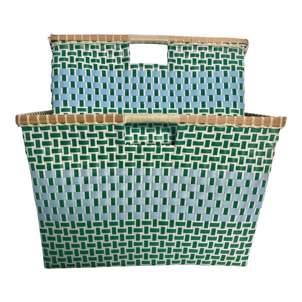 Basket for storage in Green and Light Blue - Square