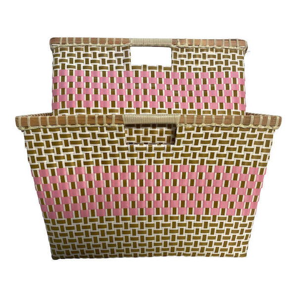 Basket for storage in Umbra and Pink - Square