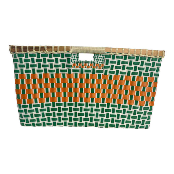 Basket for storage in Green and Orange - Square