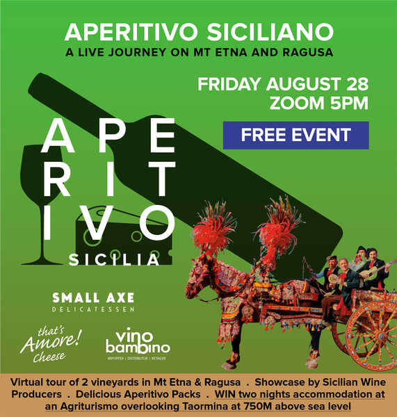 APERITIVO SICILIANO - Join us on a live journey on Mt Etna and Ragusa whilst you nibble though your aperitivo packs!