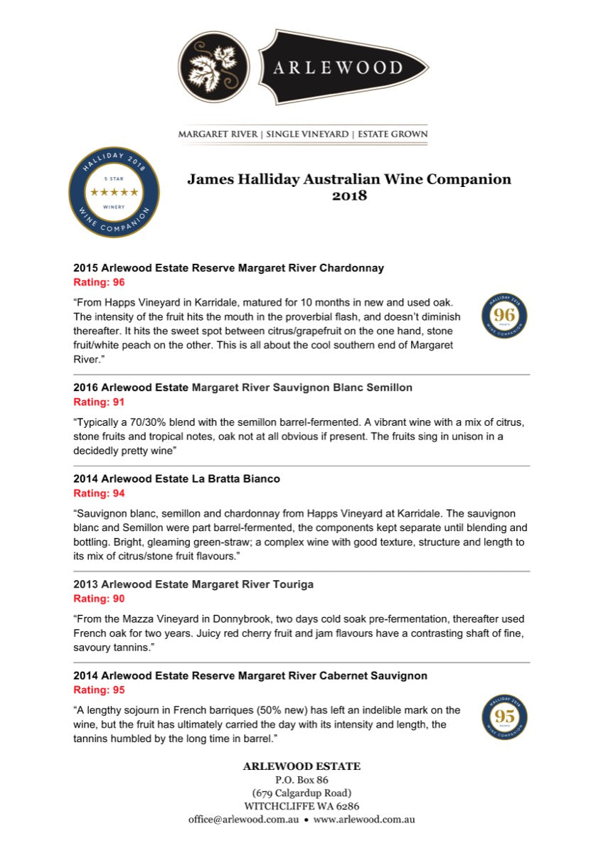 Arlewood wine ratings in the James Halliday Australian Wine Companion 2018