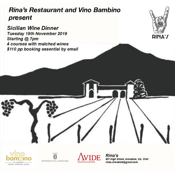 Join us for a Sicilian Wine Dinner matched with wines from Mt Etna's Barone Di Villagrande and our new addition Avide.