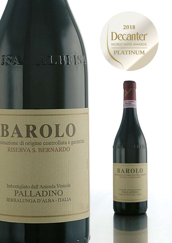Platinum Award Winner at 97points at the World Wine Awards 2018: Palladino's Riserva San Bernardo Barolo