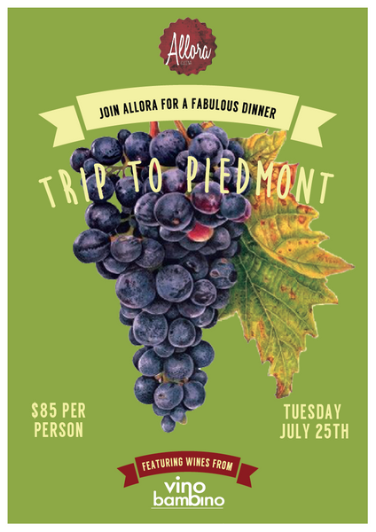 Join Us at Allora Cucina on a trip to Piedmont!