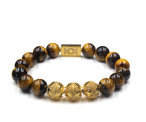 12mm Tiger's Eye and Gold