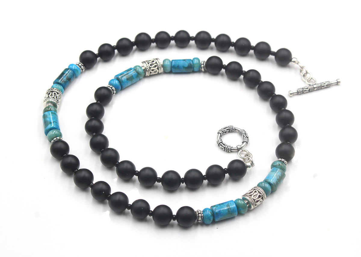 Matte Black Onyx and Larimar