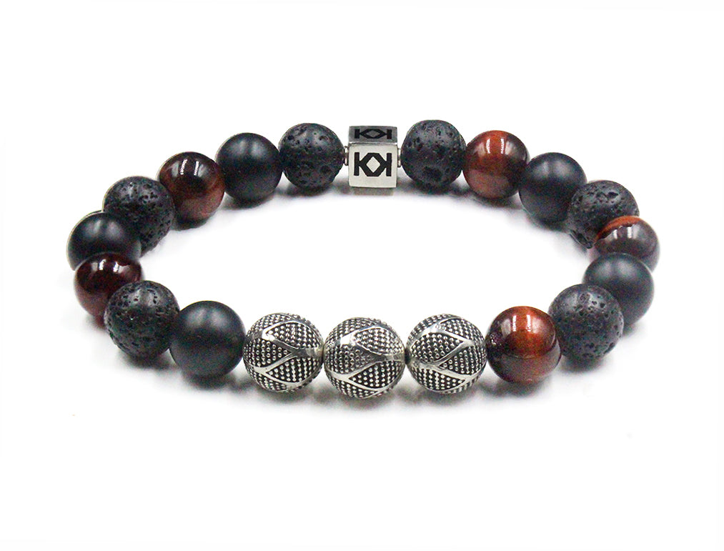 Red Tiger's Eye, Lava, Matte Black Onyx