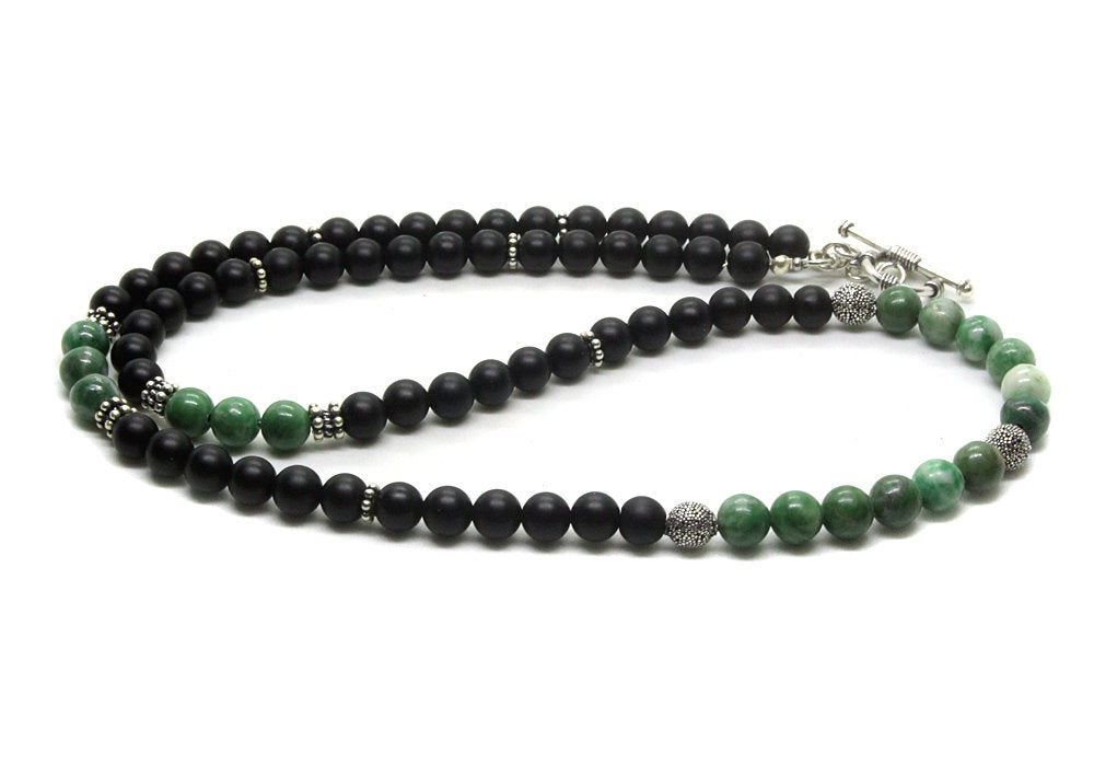 Matte Black Onyx and Qinghai Jade