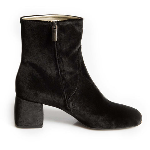 Chamberi Black Velvet Block Heeled boot