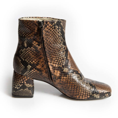 Chamberi Brown Snakeskin block Heeled boot