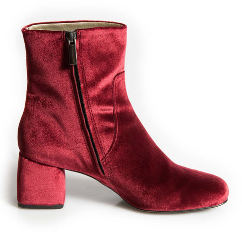 Chamberi red velvet block heel ankle boot