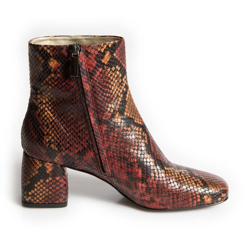 Chamberi Red Snakeskin block heel ankle boot