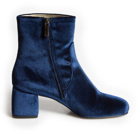 Chamberi Blue velvet block heel ankle boot