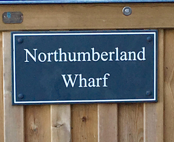 "(H)200mm x (W)400mm (8""x 16"")- Slate Sign using Times New Roman font -Free artwork-Free delivery-Free plugs & screws -Free borders (Excludes cost of posts)"