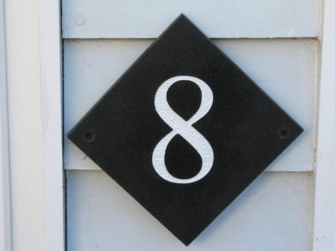 "Slate house number diamond shape (H)100mm x (W)100mm (4""x4"") using Times New Roman font  -Free artwork-Free delivery-Free plugs & screws"