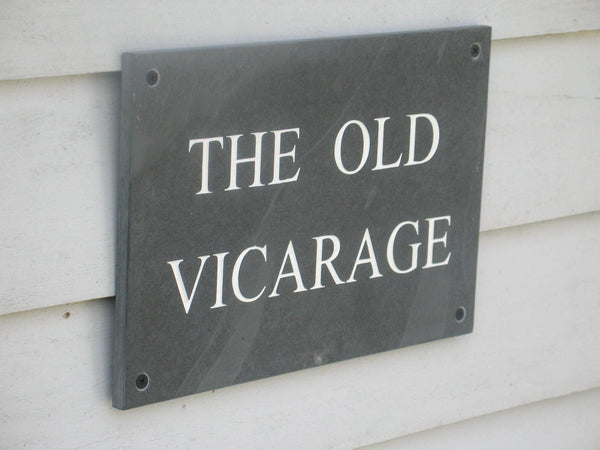 "(H)200mm x (W)300mm (8""x12"")  Slate Sign using Times New Roman font  -Free artwork-Free delivery-Free plugs & screws"