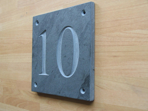"Slate house number. (H)100mm x (W)100mm (4""x 4"") using Times New Roman font  -Free artwork-Free delivery-Free plugs & screws"