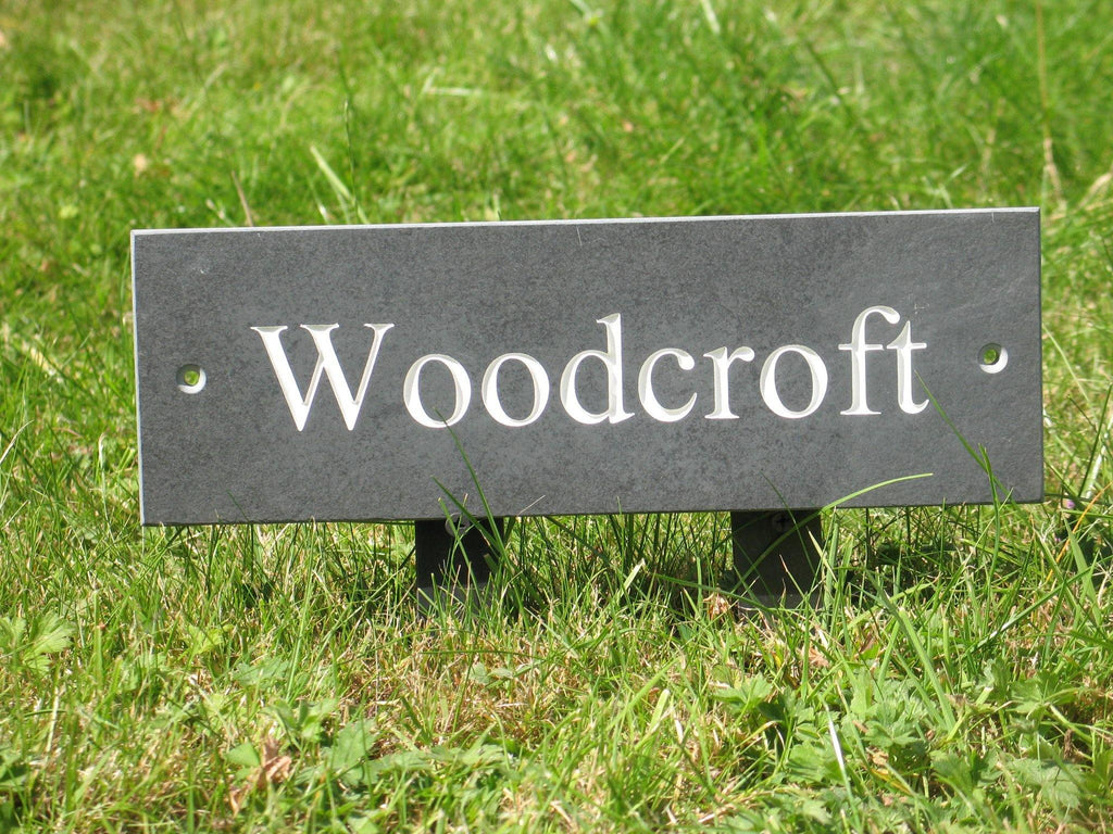 "(H)100mm x (W)300mm (4""x12"")  Slate Sign using Times New Roman font  -Free artwork-Free delivery-Free plugs & screws"