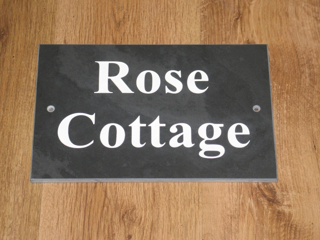 "150mm x 200mm (6""x 8"")  Slate Sign using Times New Roman bold font  -Free artwork-Free delivery-Free plugs & screws"