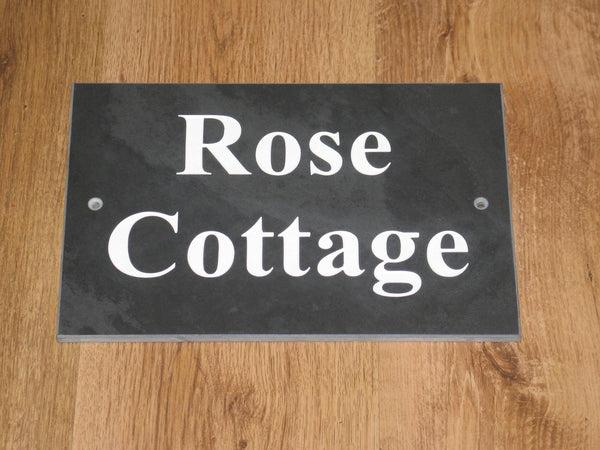 "(H)150mm x (W)200mm (6""x 8"")  Slate Sign using Times New Roman bold font  -Free artwork-Free delivery-Free plugs & screws"