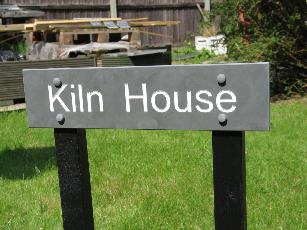 "(H)100mm x (W)300mm (4""x12"")-Slate Sign using Arial font . Free artwork-Free delivery-Free plugs & screws (Excludes cost of posts)"