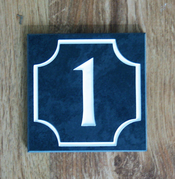"Slate house number. (H)100mm x (W)100mm (4""x 4"") using Albertus font  -Free artwork-Free delivery-Free plugs & screws"