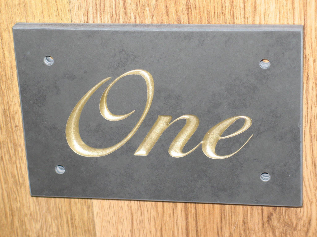 "Slate Sign (H)100mm x (W)150mm (4""x 6"") using Liffey Script font  -Free artwork-Free delivery-Free plugs & screws"