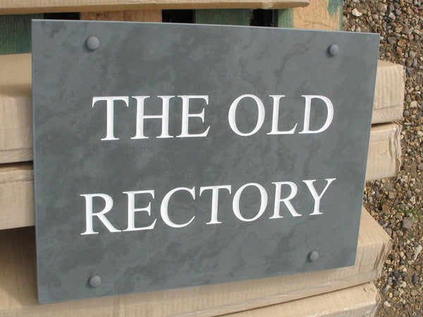 "(H)300mm x (W)400mm (12""x 16"")- Slate Sign using Times New Roman font - Free artwork-Free delivery-Free plugs & screws -Free borders (Excludes cost of posts)"