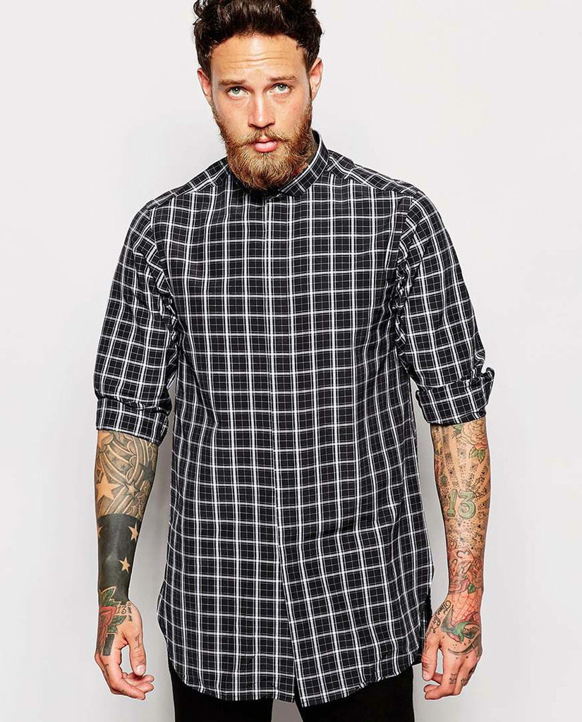 Shirt In Longline With Monochrome Check