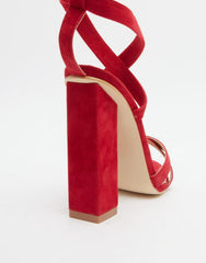 Mary Red Tie Up Block Heeled Sandals