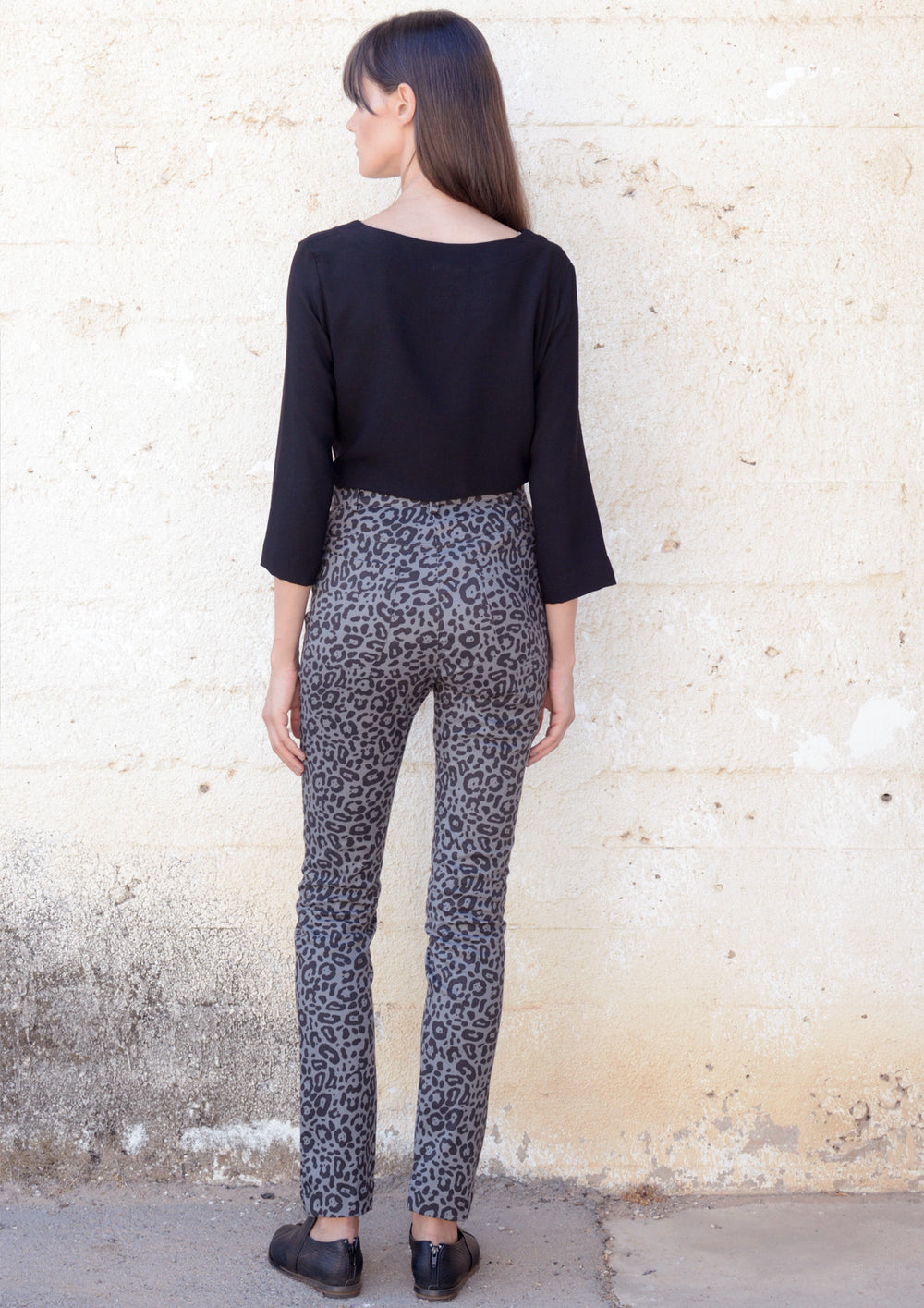 Skinny-fit trousers in print