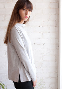 Long sleeve half turtle neck top in light grey