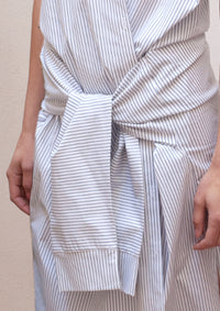 Striped wrap shirt dress
