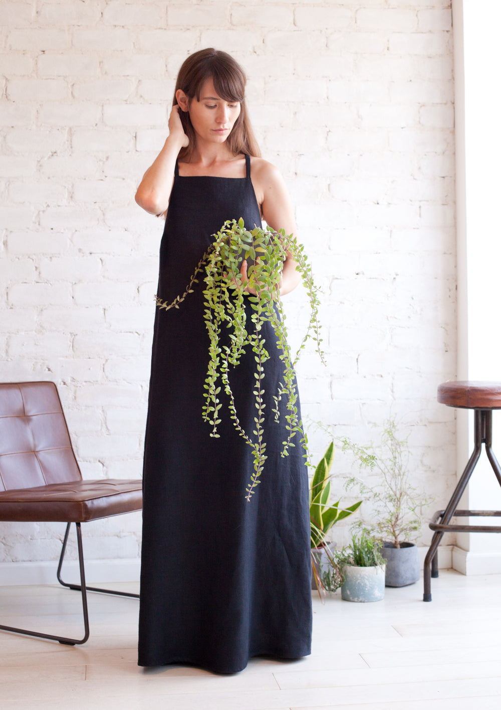 A line maxi dress with square neckline in black
