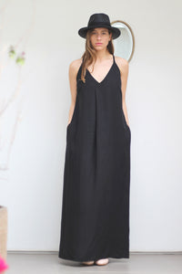 Maxi spaghetti-strap dress in black