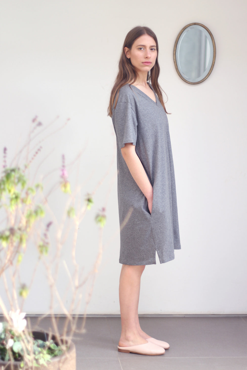 T shirt dress in sparkly grey
