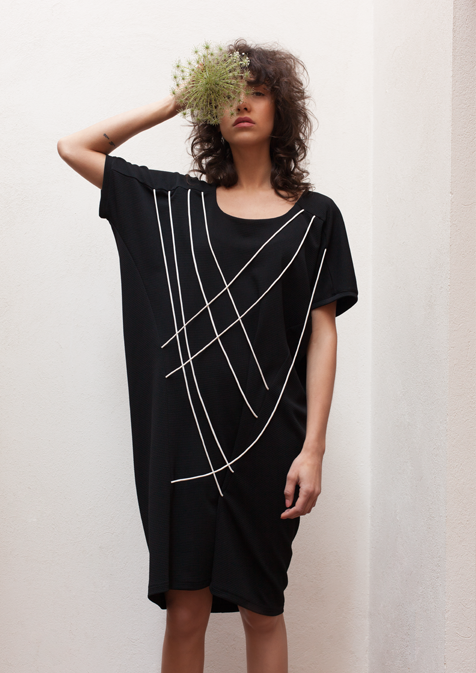 Oversized string-detail dress in black