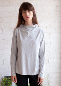 Long sleeve half turtle neck top in dark grey