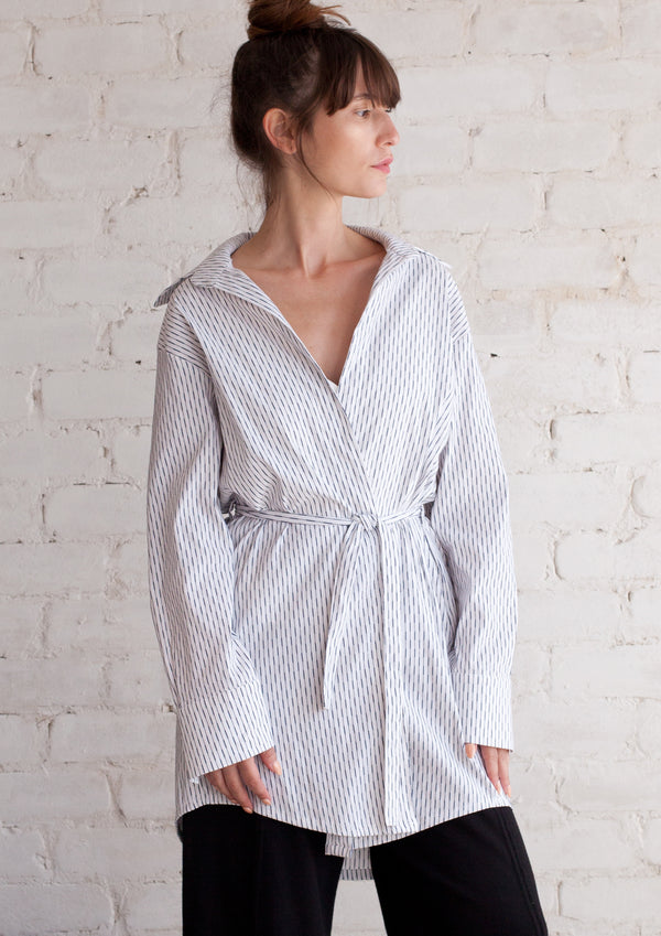 Loose wrap overshirt with stripes
