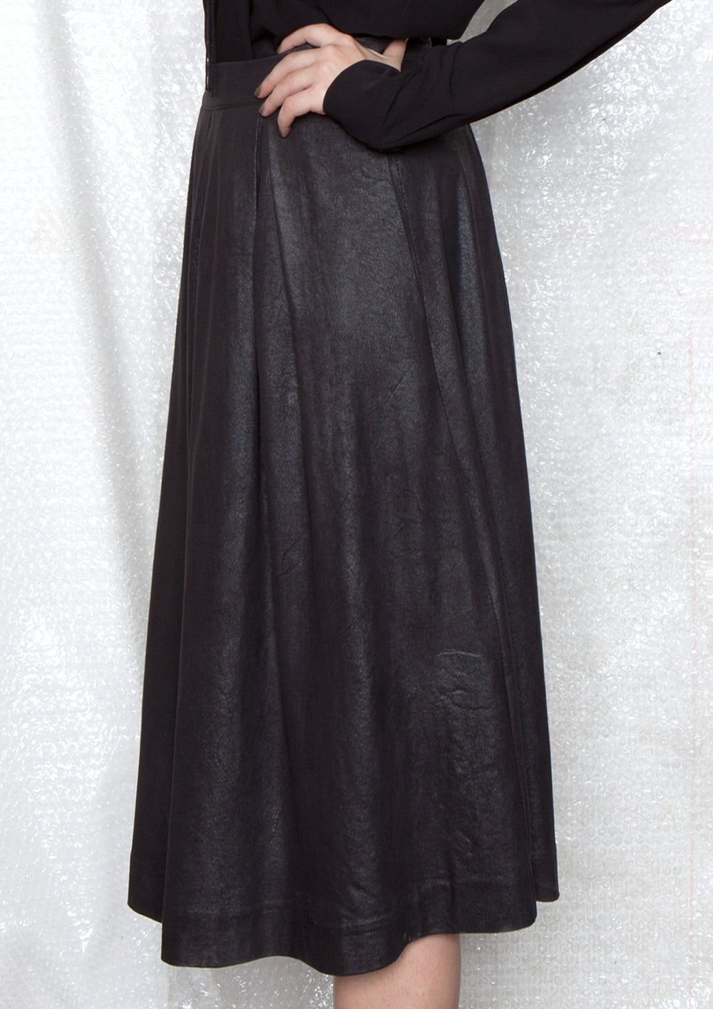 vegan leather black high - waisted skirt with pockets