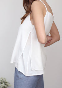 Peplos spaghetti strap top in white