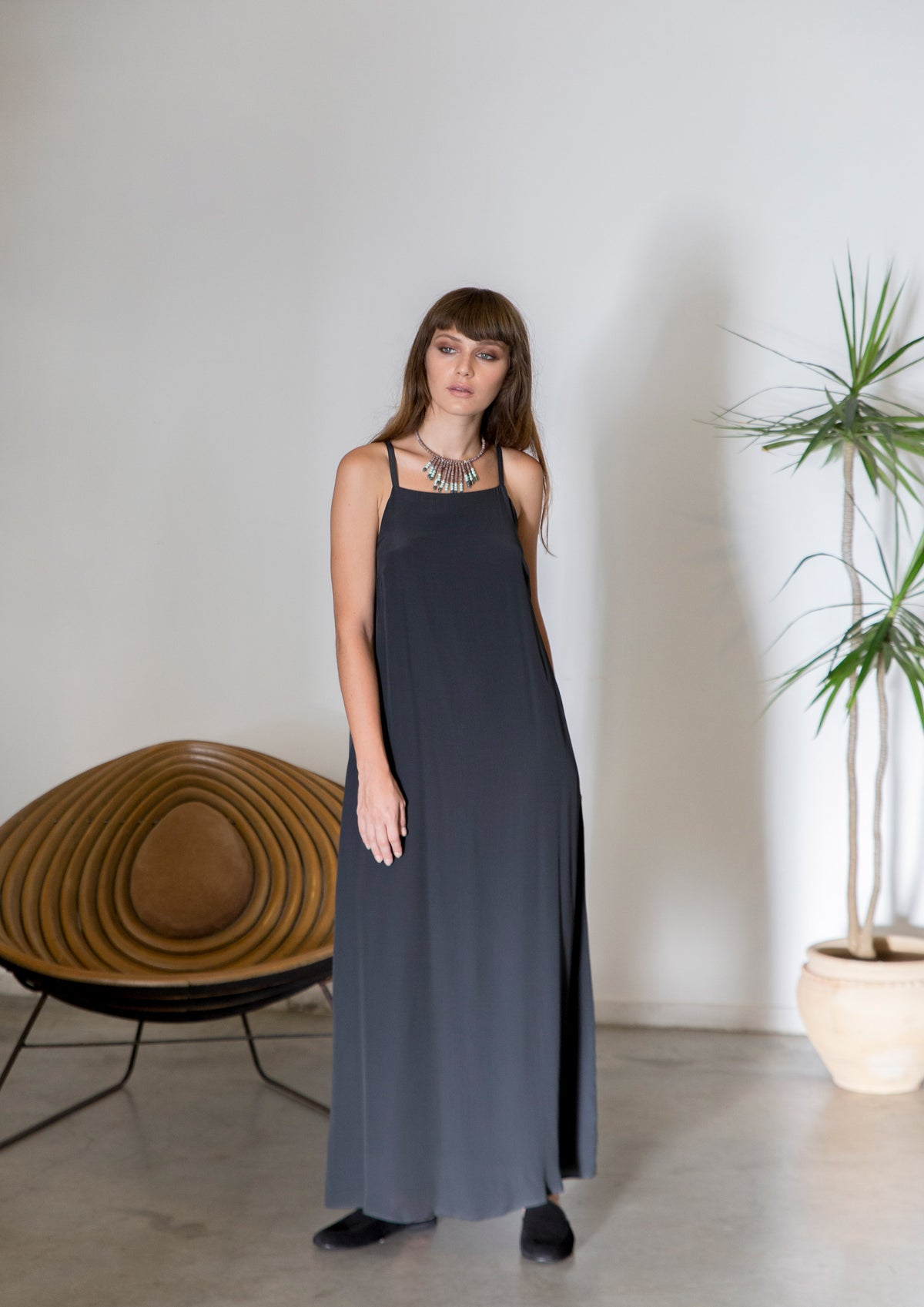 A line maxi dress with square neckline
