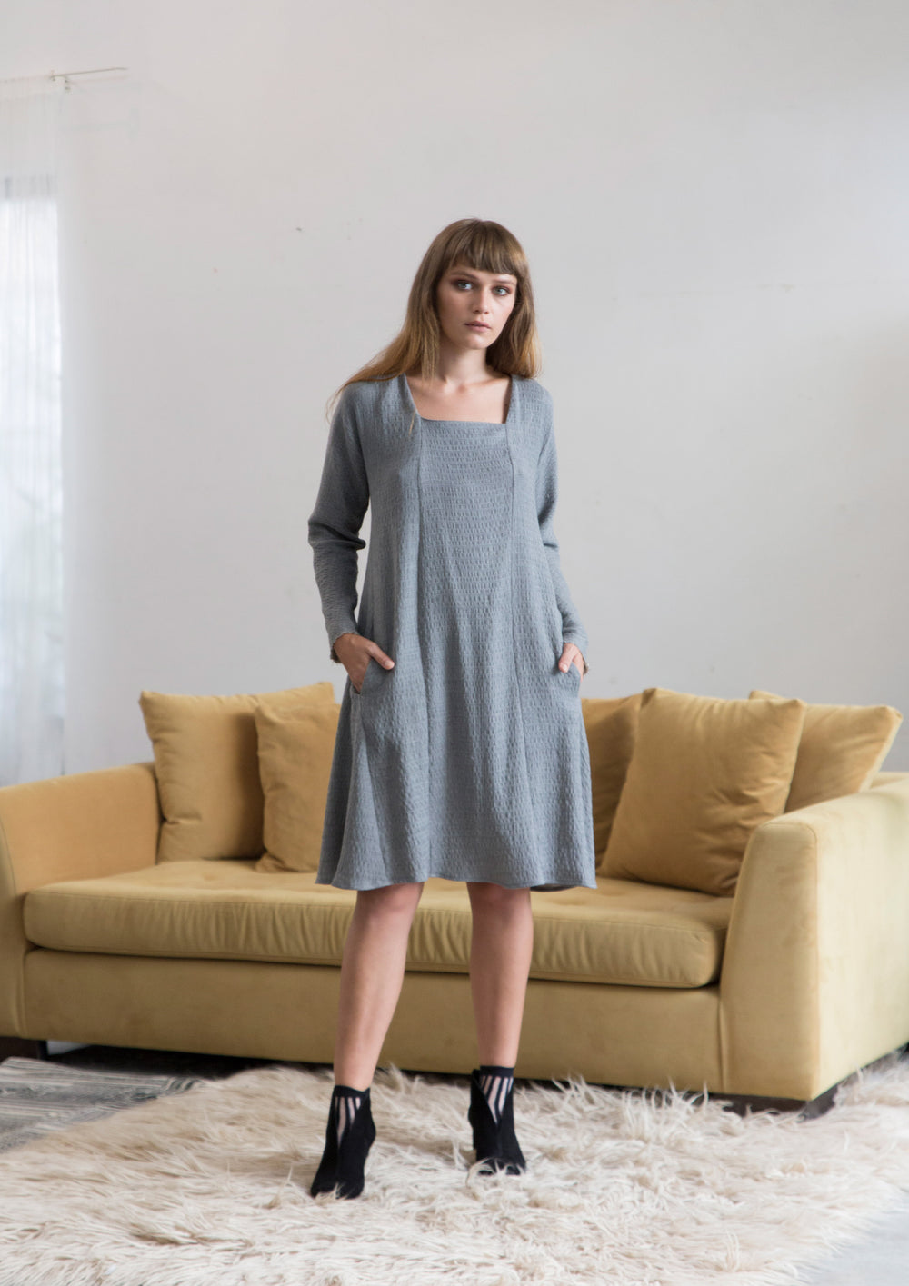 Squerd Neck Line Flowy Dress