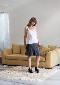 A Line Front Zipper Skirt