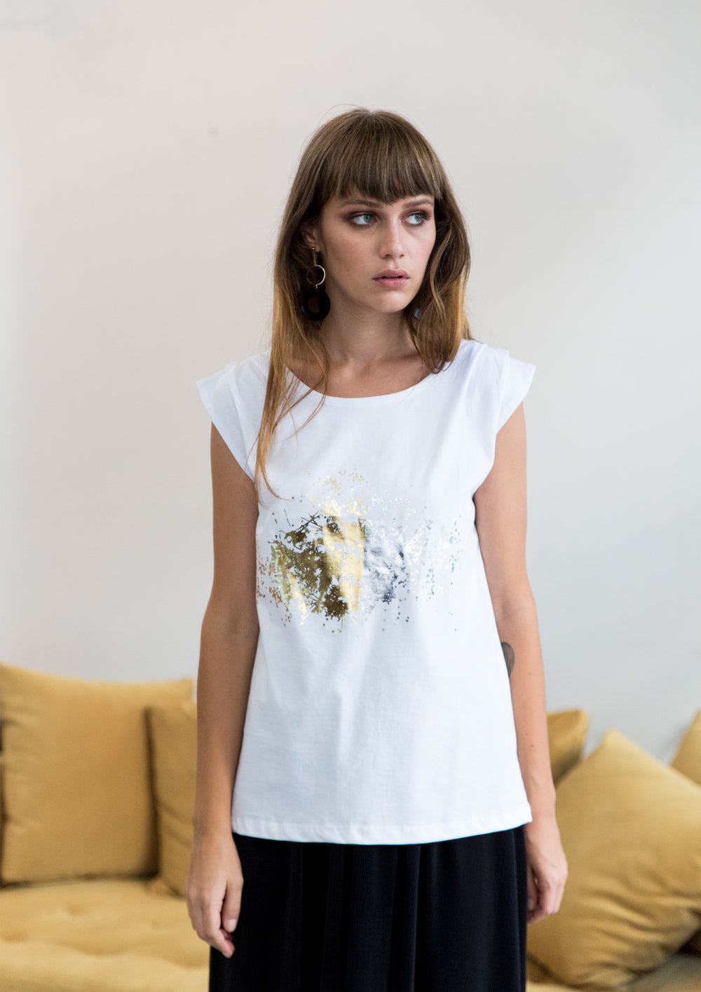 Printed organic cotton sleevless tshirt
