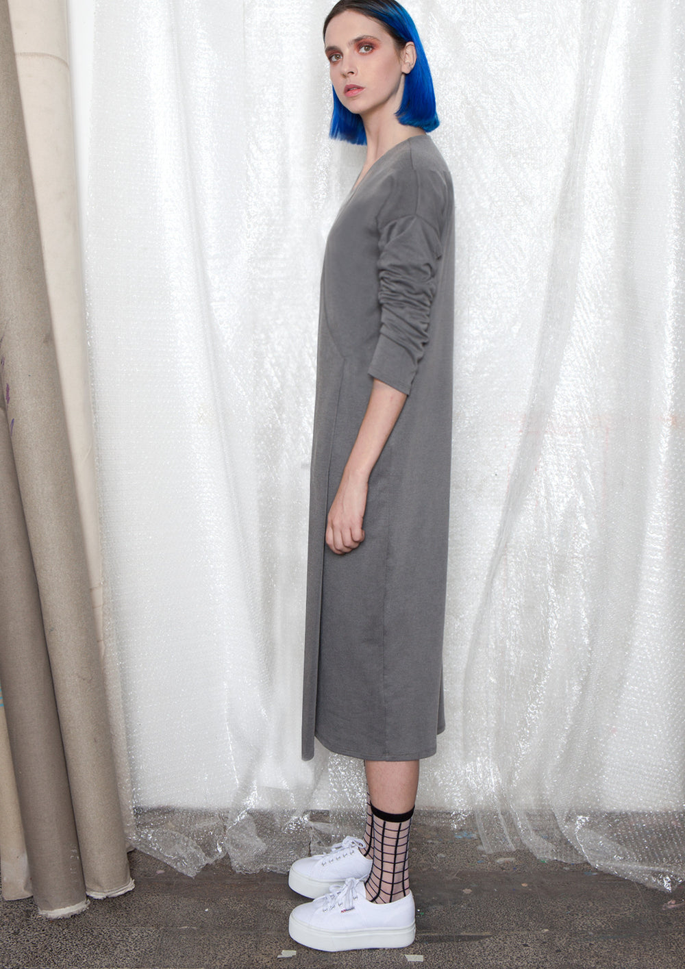 Front pleat V-neck dress in grey