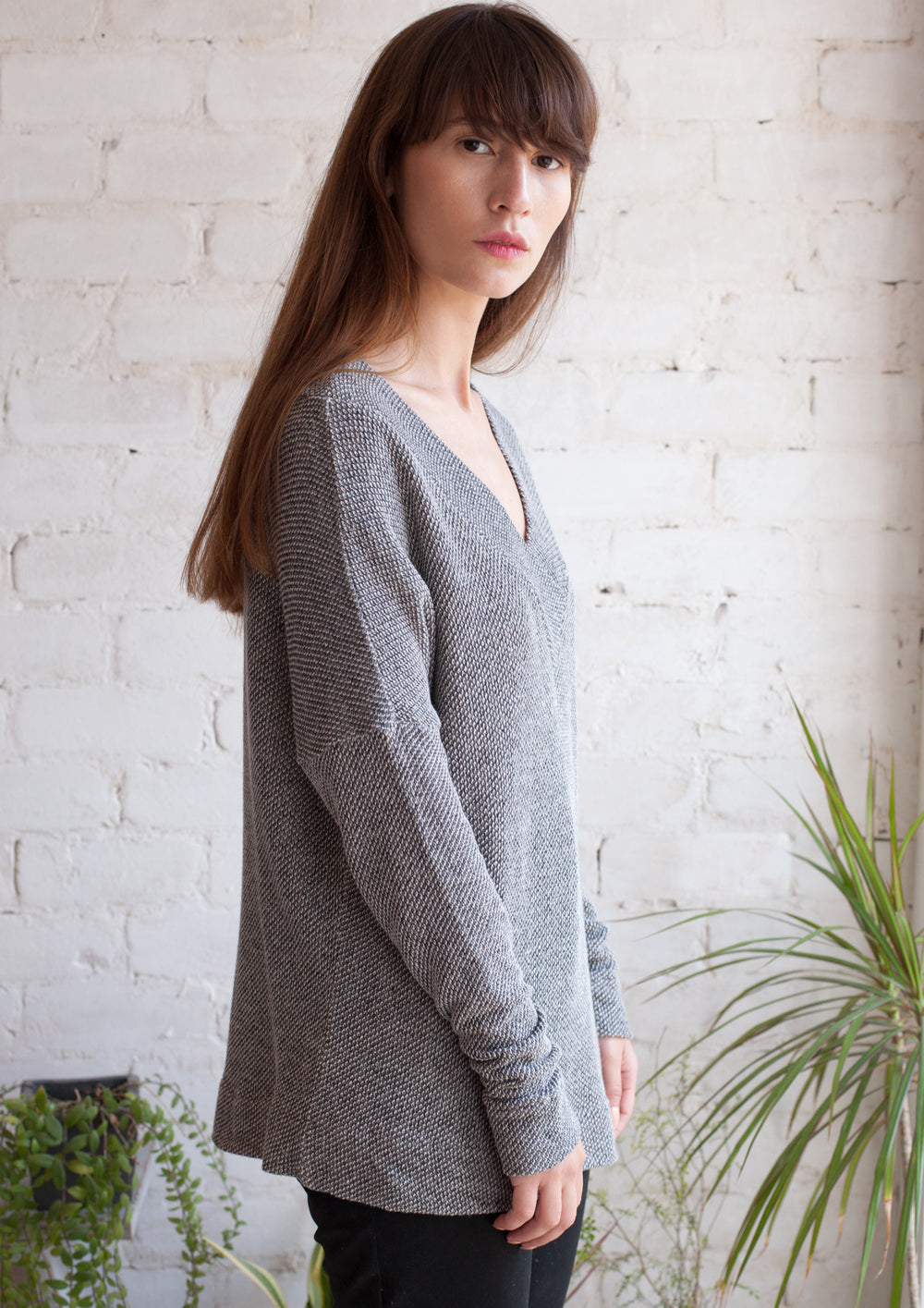 V neck french terry sweater in grey