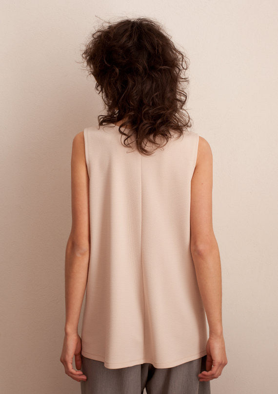 V-neck cut-out top in nude