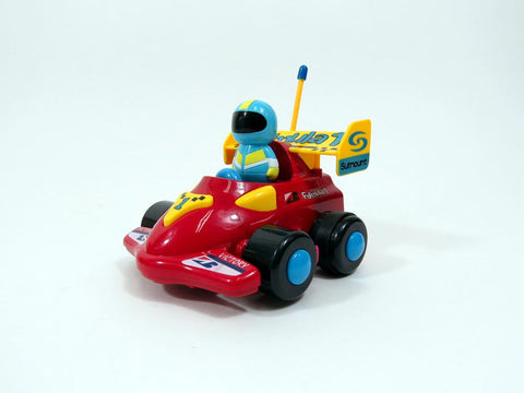 "4"" Cartoon R-C Formula Race Car Toy for Toddlers (Red)"