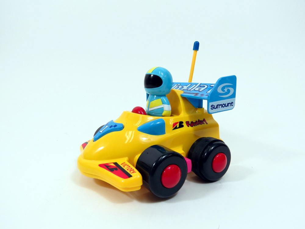 "4"" Cartoon R-C Formula Race Car Toy for Toddlers (Yellow)"